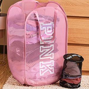 VS PINK Laundry Basket Hamper & Intimates Bag Set